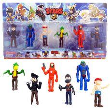 Большие фигурки (10 см) Brawl Stars (13 сезон) - 6 игрушек в наборе,  герои игры Бравл Старс: Ворон, Пират, Марсианин  и другие.