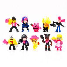 Набір фігурок комп'ютерної гри Бравл Старс (10шт): Стрітрейсер Брок, Пенні, Золотий Ворон, Спайк та ін.
