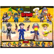 Brawl Stars (13 сезон) - 4 игрушки фигурки в наборе,  герои игры Бравл Старс: Ворон, Кольт, Молодой Поко, Пират.
