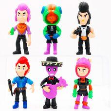 Большие фигурки (11сантиметров) Бравл Старс (6 шт), в наборе герои Brawl Stars (со световыми эффектами): Леон, Кольт, Шелли и др.