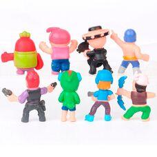 Набір міні-фігурок (4,5 см) Бравл Старс (8 шт) герої Леон, червоний Кактус Спайк, Кольт, Ель Прімо та ін.