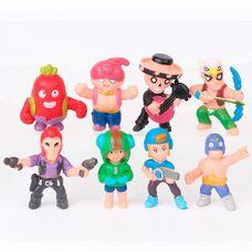 Набор мини-фигурок (4,5 см) Бравл Старс  (8 шт)  герои Леон, красный Кактус Спайк, Эль Примо и др.