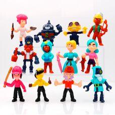 Набор игрушечных фигурок Бравл Старс (12 шт) герои Brawl Stars (Леон, Шелли, Биби, Диномайк, Дэррил и др.)