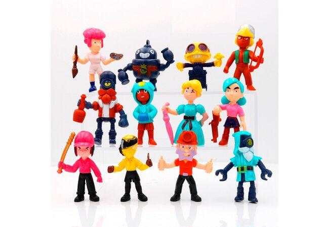 Набор БОЛЬШИХ игрушечных фигурок Бравл Старс (12 шт) герои Brawl Stars (Леон, Шелли, Биби, Диномайк, Дэррил и др.)