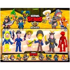 Большие фигурки (10 см) Brawl Stars (13 сезон) - 6 игрушек в наборе,  герои игры Бравл Старс: Голем Валли, Якудза, Ворон, Леон  и другие.