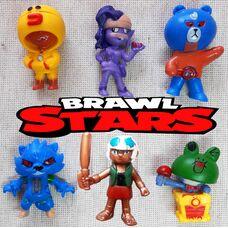 Колекційні іграшки -фігуркі Бравл Старс (6 шт): Леон Саллі, Леон Вервульф, Ель Прімо Браун, ЕМЗ, Карл Леонард, Бі-Бі.