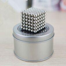 Неокуб 5мм (216 шт), никель серебро, магнитный конструктор с магнитными шариками.