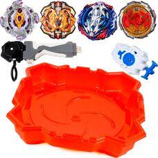 Комбо набор 4 бейблейда + арена + запускатели (Фафнир Ф4 Призрак, Вайс Леопард, Лучник Геркулес, Возрождающийся Феникс).
