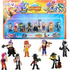 Набір іграшкових фігурок Brawl Stars 8 шт,  персонажі гри Бравл Старс з аксесуарами: Ворон, Тара  та інші