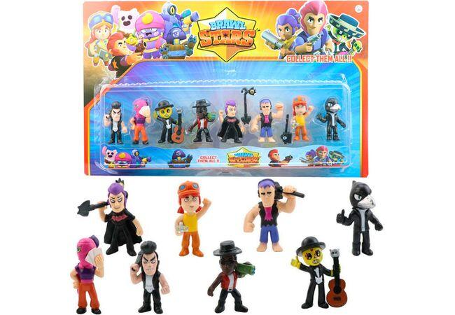 Набор игрушечных фигурок Brawl Stars 8 шт,  персонажи игры Бравл Старс с аксессуарами: Ворон, Тара  и другие