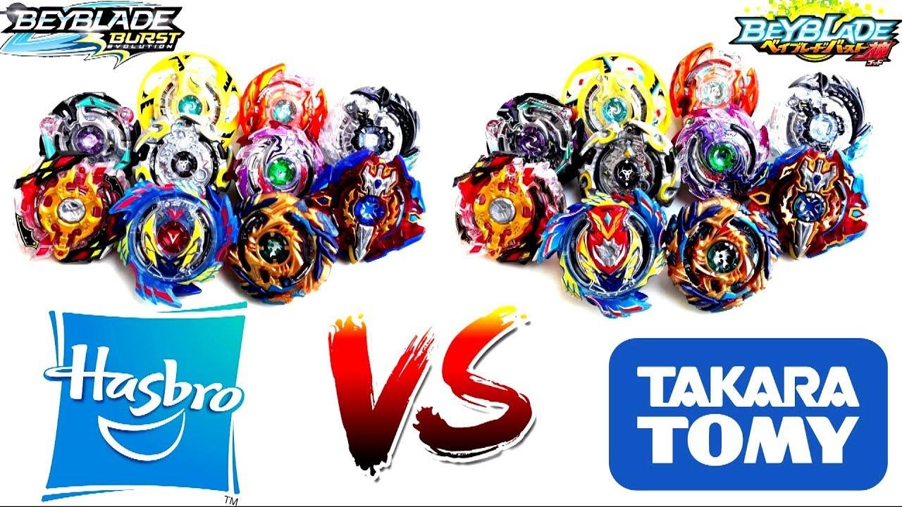 Бейблейды бренда Takara Tomy против Hasbro